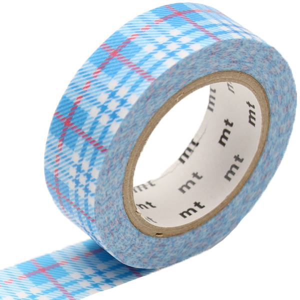 MT washi tape check light blue
