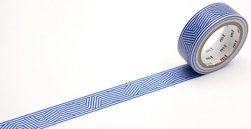 MT washi tape border & circle blue