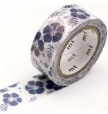 MT washi tape fab pearl Hibiscus navy blue