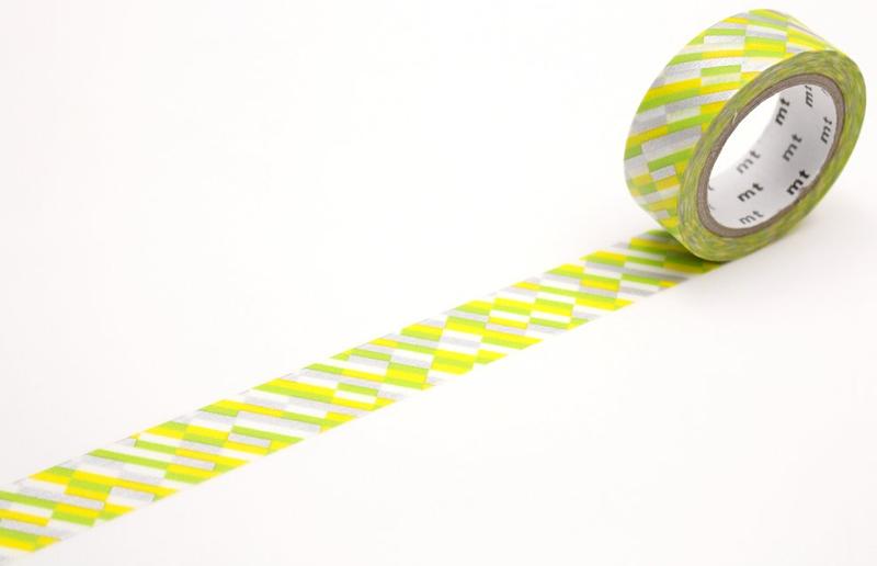MT washi tape block stripe green