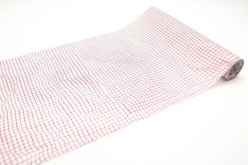MT washi wrap Wrinkled grid red 230 mm