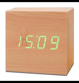 Ging-ko Click Clock cube maxi beukenhout met groene led