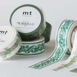 MT washi tape William Morris Pure Honeysuckle & Tullip Black ink