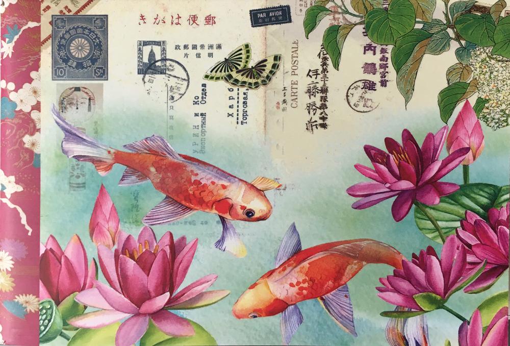 Geïllustreerd petit notebook Carpes Koi