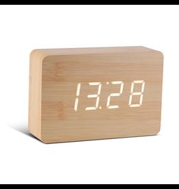 Ging-ko Click Clock Brick beukenhout met witte led