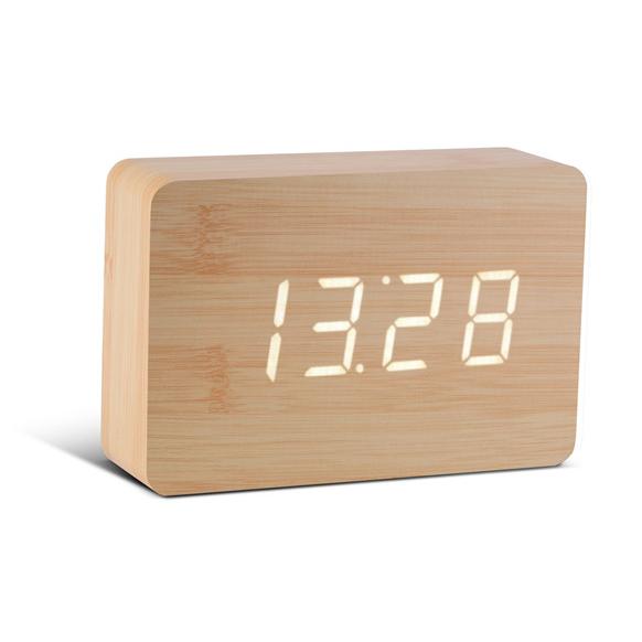 Click Clock Brick beukenhout met witte led