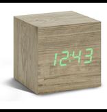 Click Clock cube Ash sloophout met groene led