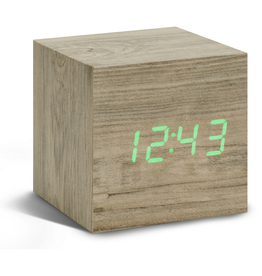 Ging-ko Click Clock cube Ash sloophout met groene led