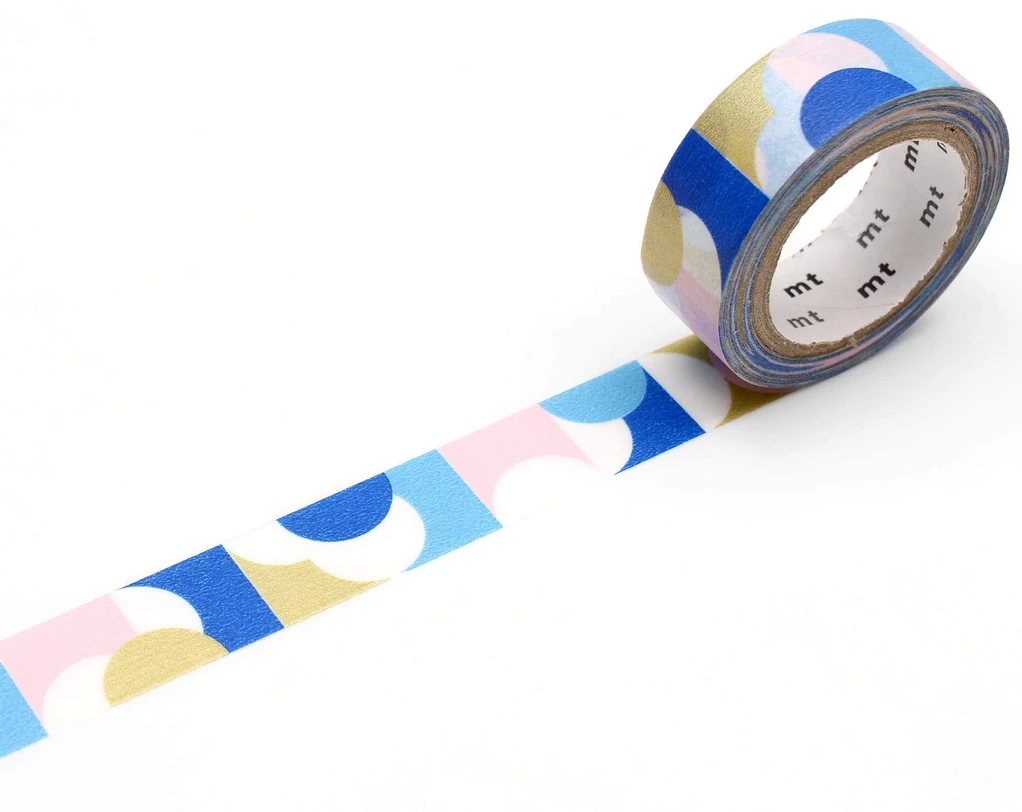 MT washi tape deco Half circle pink blue