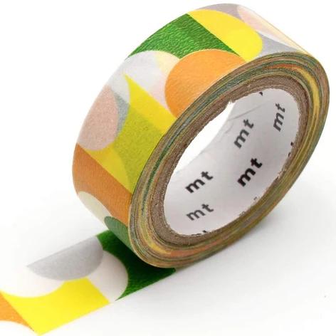 MT washi tape deco Half circle yellow green
