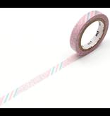 MT washi tape slim Pink flower stripe