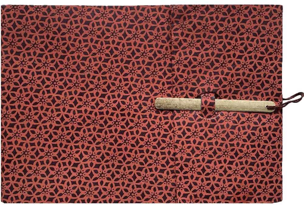 Lamali Carnet Gargi motif fleur rouge