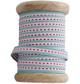 Aspegren 25 meter band stripe turkis op houten klos
