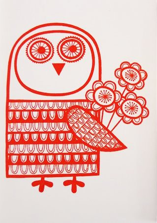 Red owl with love