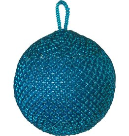 Kerstbal beads blauw