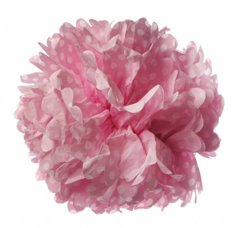 Paper pom pom dot pink
