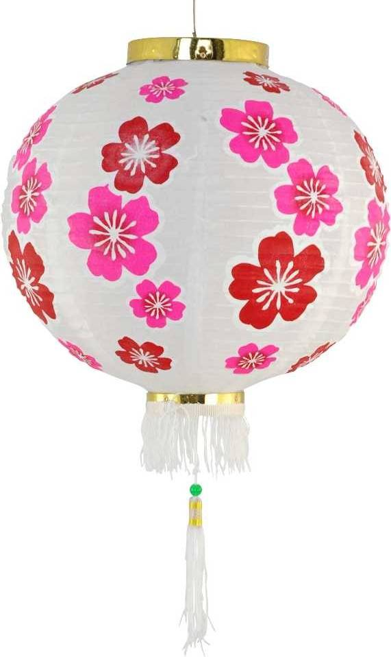Bollamp van stof chinese bloem