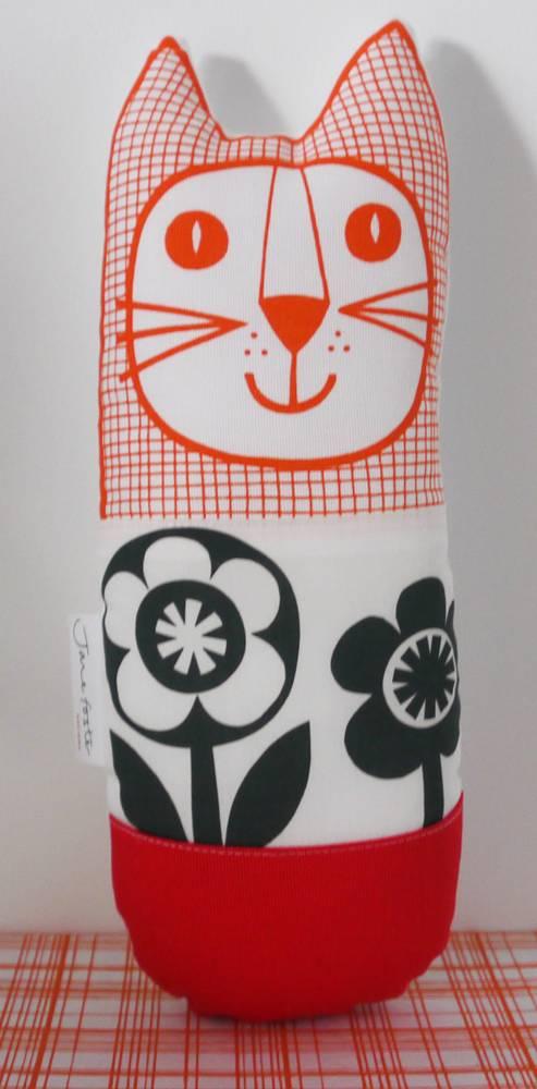 Cat black & white flower