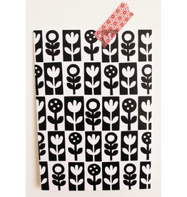 Jane Foster Kaart black & white flowers