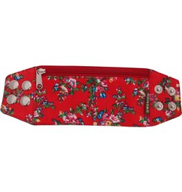 Huisteil creaties Zipper bracelet red flowery S/M