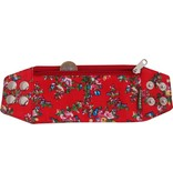 Zipper bracelet red flowery S/M