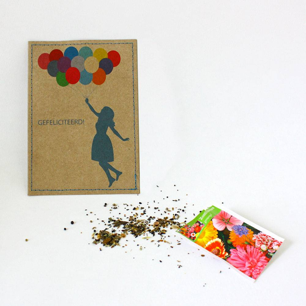 Gefeliciteerd! kaart & bloemzaadjes