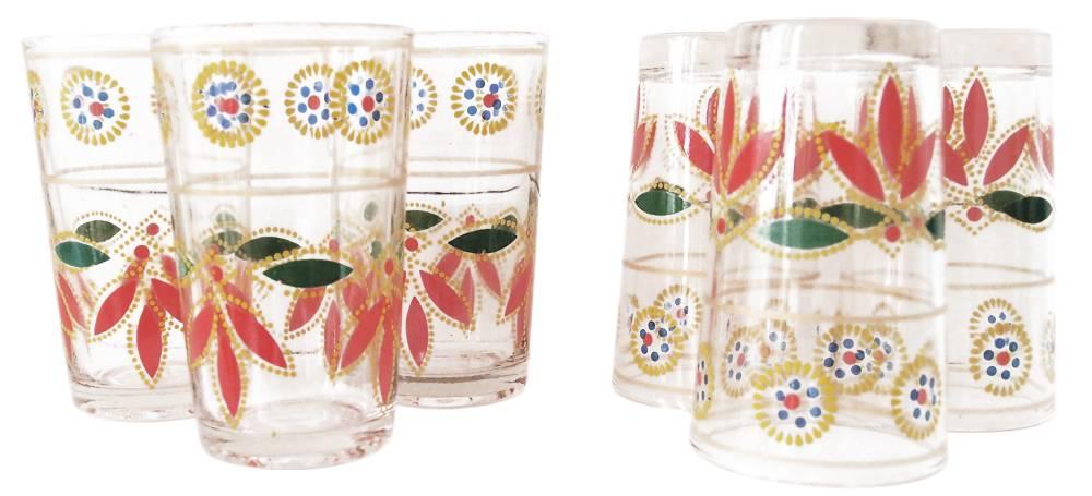 Set van zes Marokkaanse theeglazen