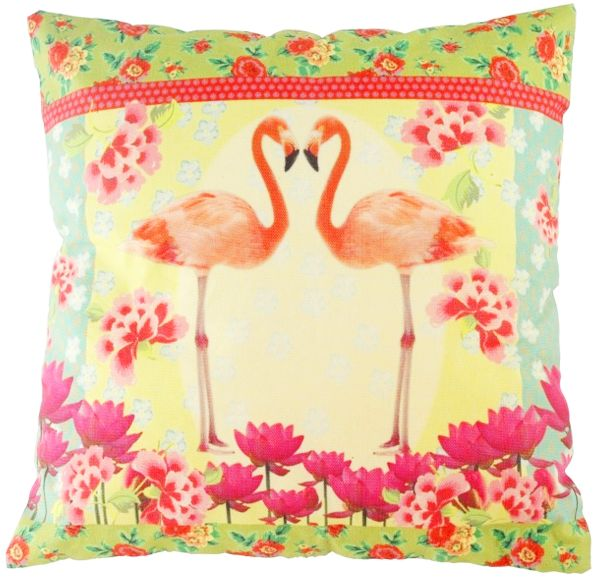 Kussen The Go'Round  Flamingos groen