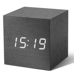 Ging-ko Click Clock cube zwart met witte led