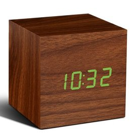 Ging-ko Click Clock cube walnoten hout met groene led