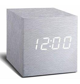Ging-ko Click Clock Cube maxi aluminium met witte led
