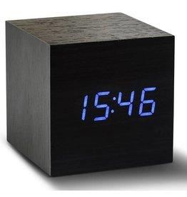 Ging-ko Click Clock cube zwart met blauwe led