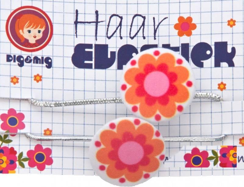 Haar elastiekjes oranje bloem
