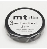 MT washi  tape slim set black 3 mm