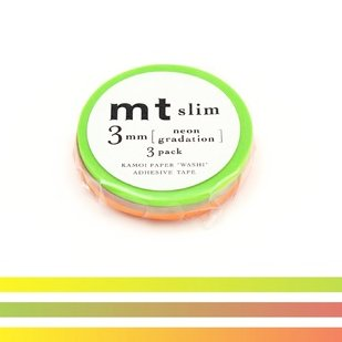 MT washi tape slim set neon gradation 3 mm