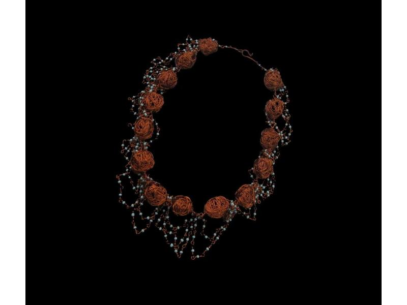 COPPER BEAD NECKLACE WITH TURQUOISE BEADS