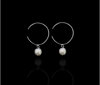 ROUND HOOP EARRINGS WITH STONE DROP