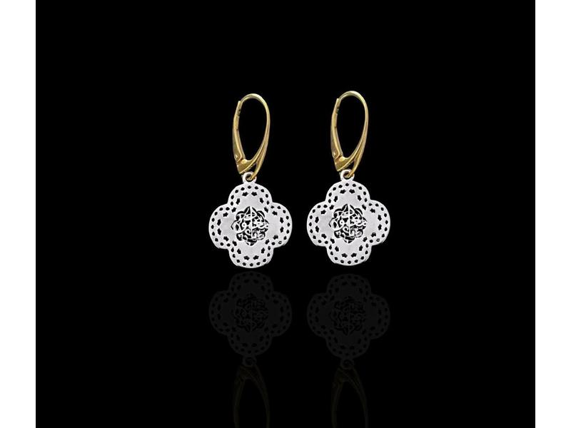 TWO TONE SMALL CLOVER EARRINGS FRENCH HOOK
