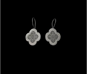 LARGE SILVER CLOVER EARRINGS WITH HOOK