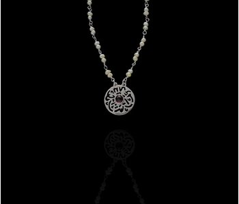 PEARL NECKLACE, MASHA'ALLAH PENDANT AND CABOCHON