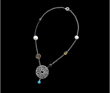 SILVER CHAIN NECKLACE WITH MEDIUM SILVER DISC AND GEMSTONE DROP