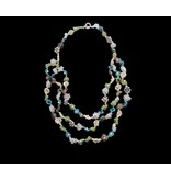 FLOWER NECKLACE MULTI-STONE 3-ROWS