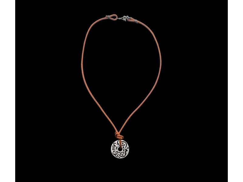 MASHA ALLAH DISC ON LEATHER NECKLACE
