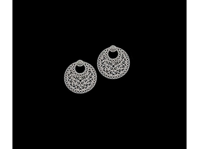 LARGE CRESCENT ARABESQUE EARRINGS SILVER