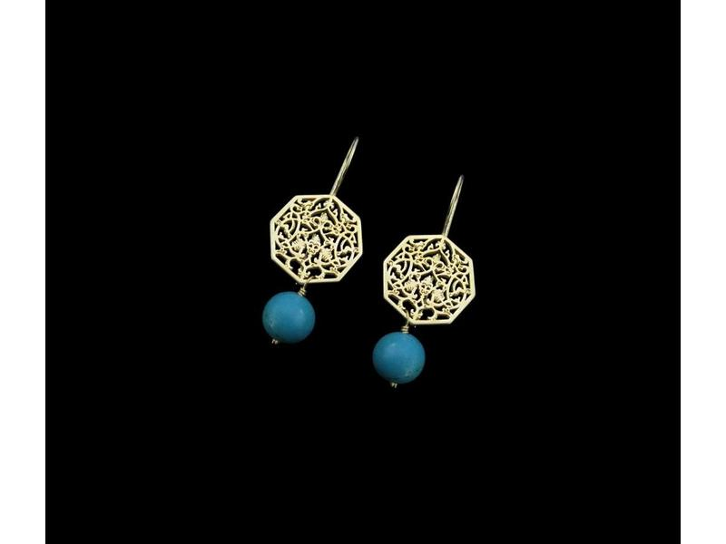 OCTAGON EARRINGS GP WITH STONE DROP
