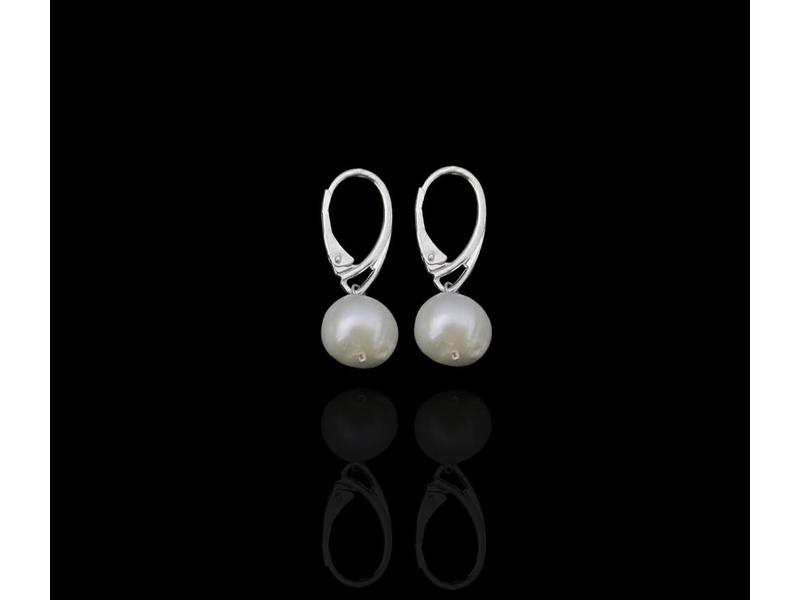 STONE DROP EARRINGS, FRENCH CLASP SILVER
