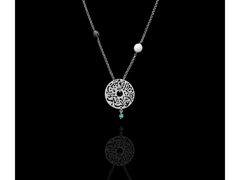 SILVER CHAIN NECKLACE WITH MEDIUM DISC AND MIXED GEMSTONES