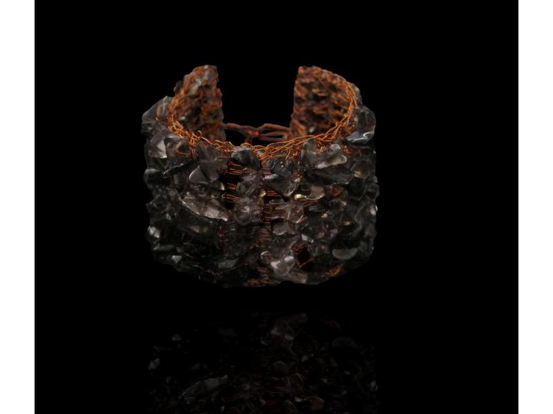 COPPER CROCHET BRACELET W/ SP STONES
