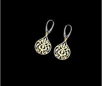 ARABESQUE GOLD PLATED EARRINGS TWO TONE