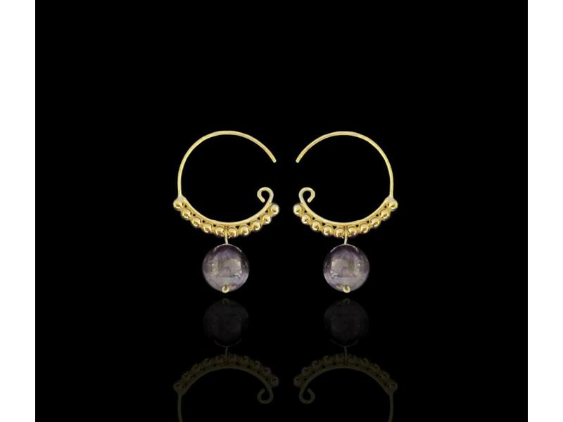 SILVER GP ROMAN HOOP EARRINGS WITH STONE DROP